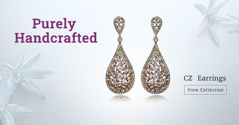 Purely Handcrafted Cubic Zirconia Small Earrings